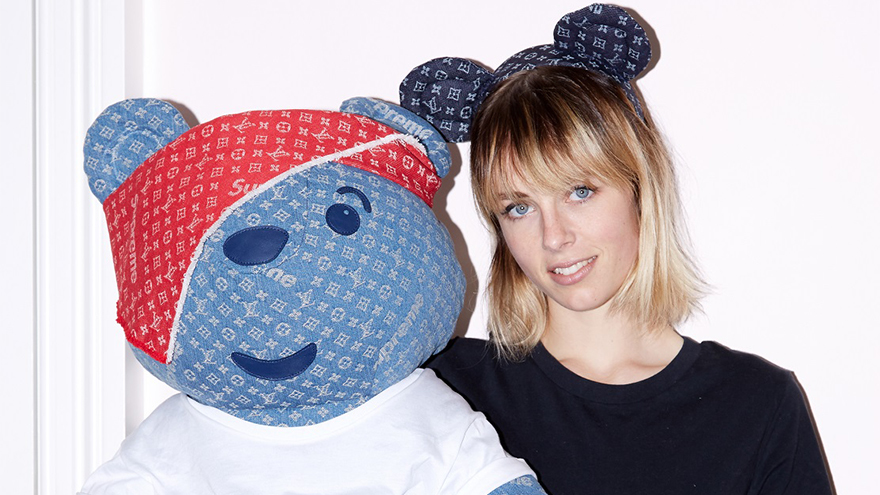 Edie Campbell models denim teddy bear ears and shows off the denim Pudsey Bear