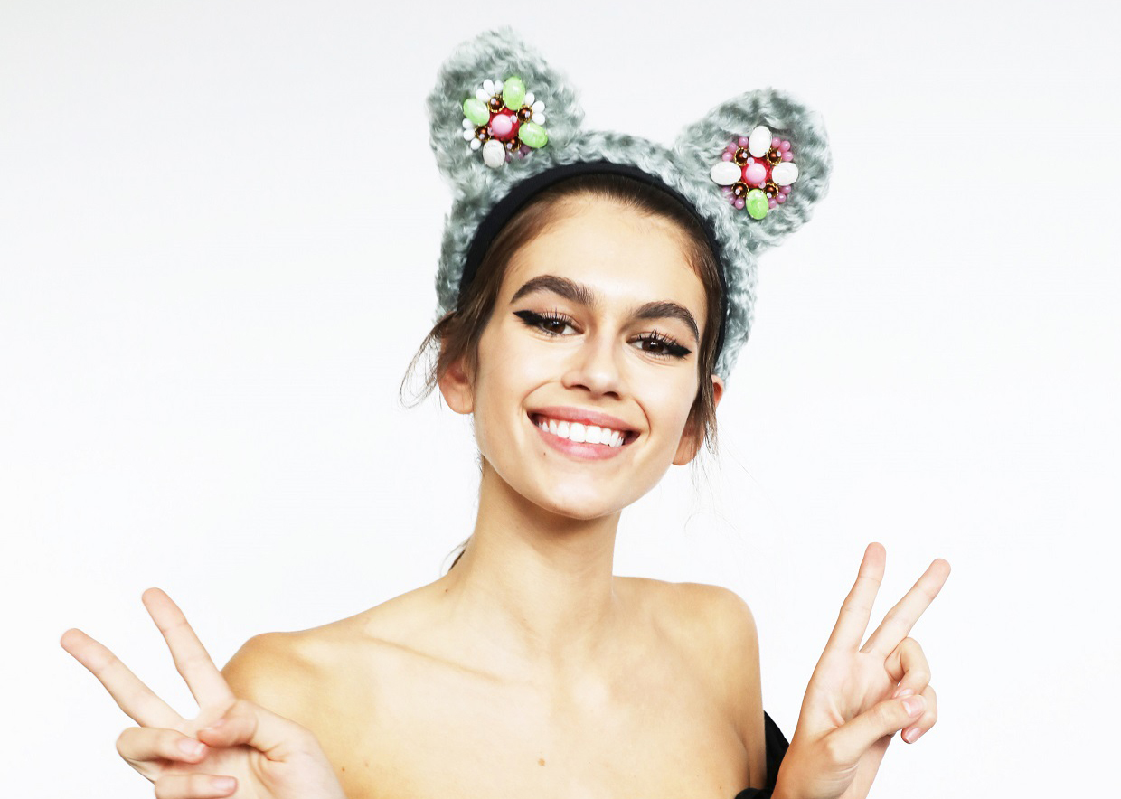 Prada's take on Pudsey's ears is modelled by Kaia Gerber