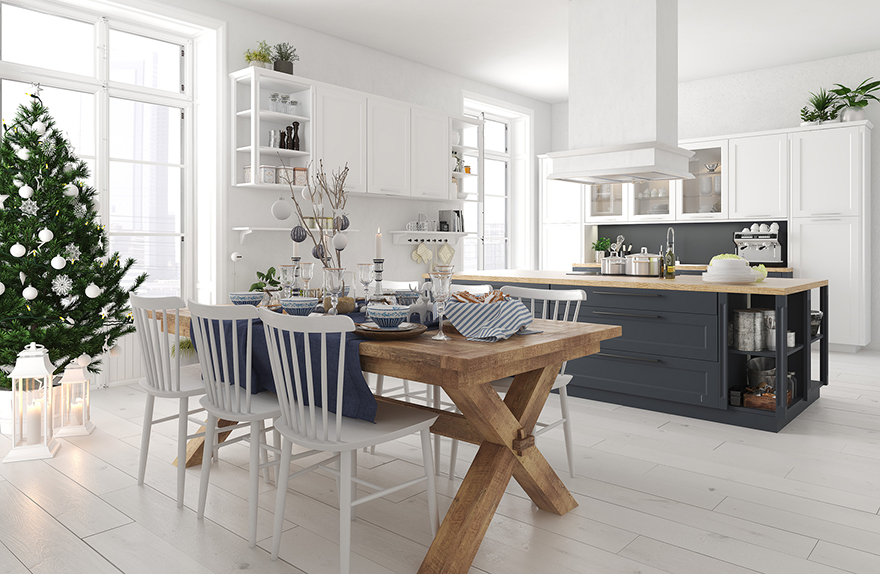 Nordic kitchen with christmas decoration
