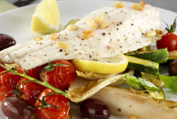 Seabass with courgettes