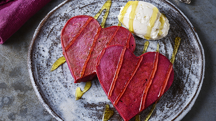 Red Velvet Heart Pancakes