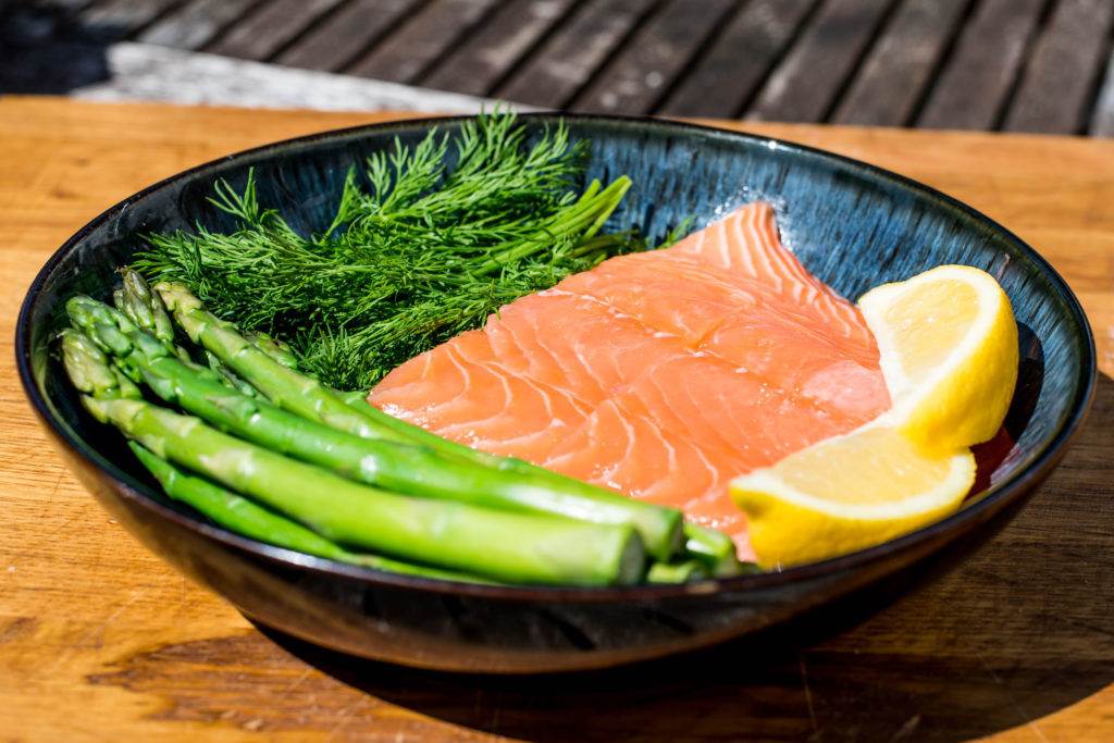 Uncooked Fresh Organic Salmon Steak With Asparagus and Dill Herbs