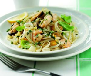 Basil and seafood linguine
