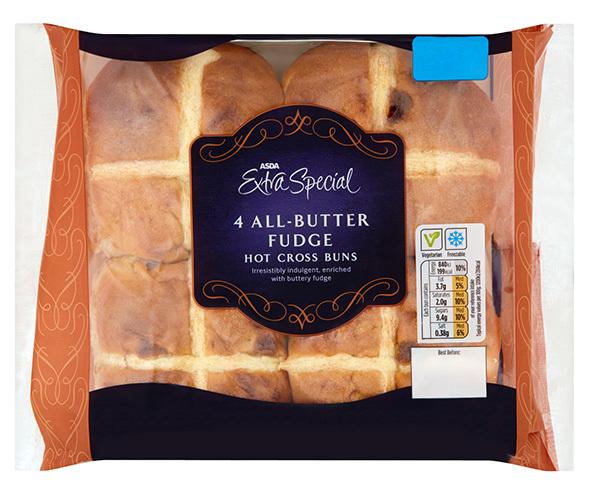 Asda All Butter Fudge Hot Cross Buns, £1.20 for 4