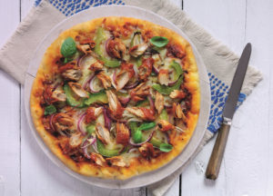 Pizza topped with mackerel