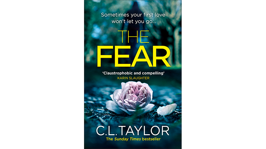 cover of The Fear by C.L. Tower showing a pink flower on a blue background