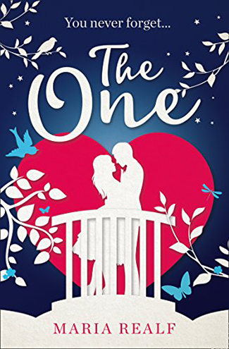 The One book cover with silhouettes of couple embracing against red heart