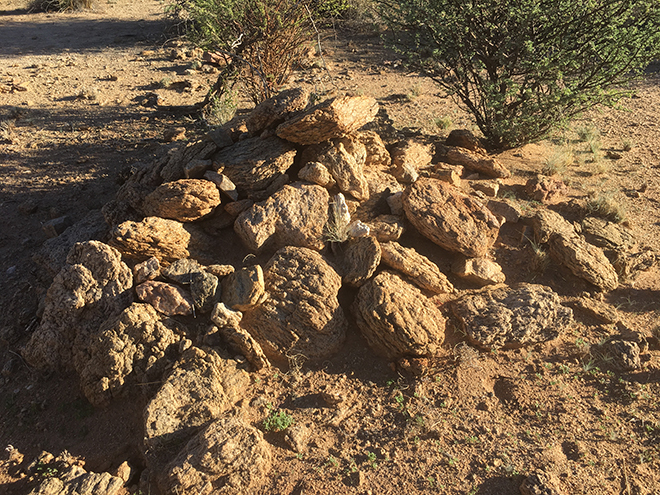 Stones in the desert denoting a grave