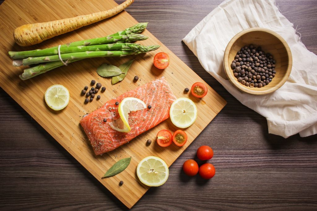 Salmon and healthy food