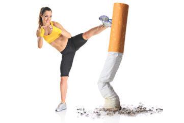 Girl kicking a cigarette butt