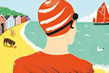 woman in red swimming cap