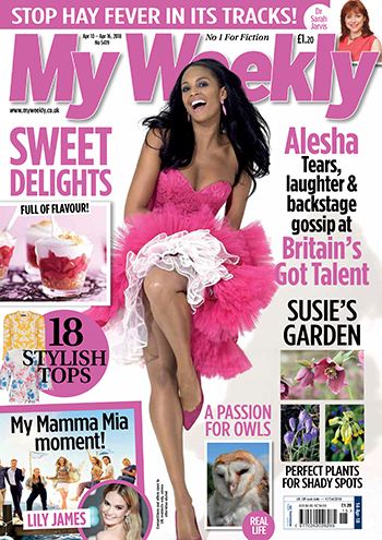 cover of april 14 My Weekly showing Alesha Dixon dancing