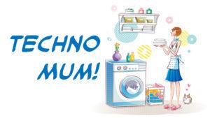 Cartoon woman and washing machine