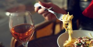 pasta meal with wine Pic: Rex/Shutterstock