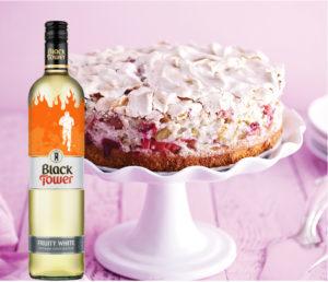 Rhubarb meringue topped tart and Black Tower Wine