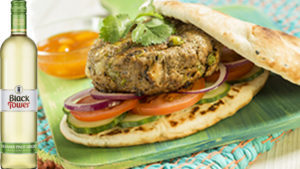 Indian burger with pinot grigio