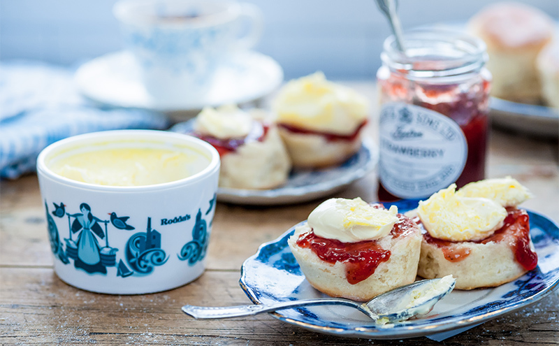 Cream tea with Tiptree jam and Rodda's cornish cream