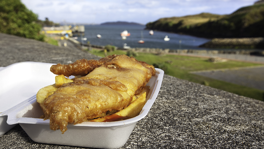 """Crispy, battered fish with chips and ketchup. Photographed at Tarbert on the Isle of Harris in the Outer Hebrides, Scotland.Other photos taken in the Outer Hebrides:"""