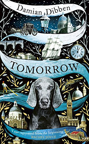 Tomorrow book cover with dog, clocks and sailing ship