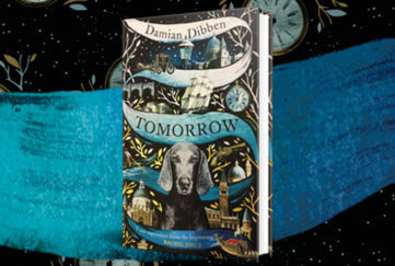 Tomorrow book cover with dog and planets