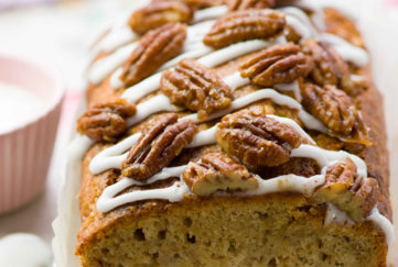 Banana cake with walnuts on top