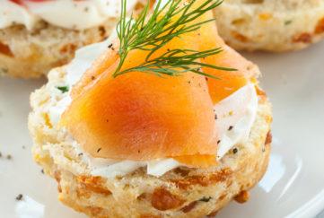 Savoury scones topped with smoked salmon