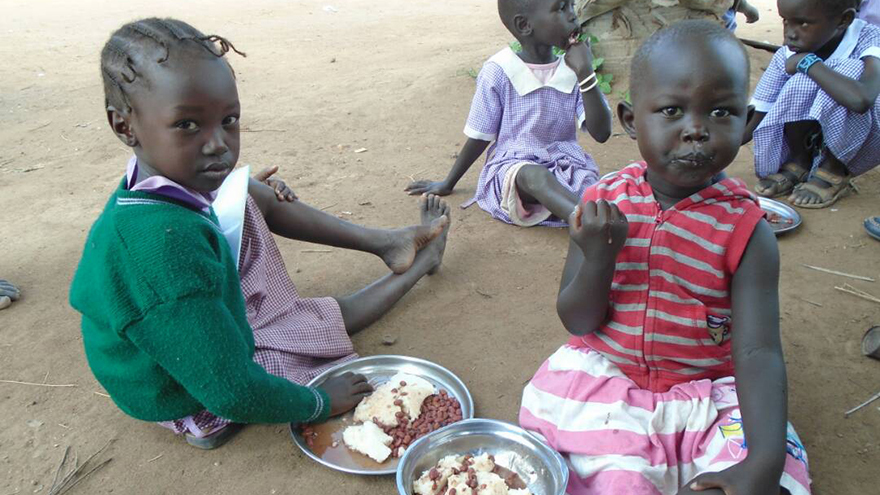 Children being supported at school in South Sudan by Mary's Meals