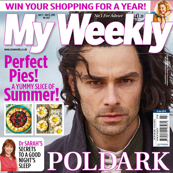 My Weekly cover June 5-11 with Aidan Turner of Poldark and summer pies cookery