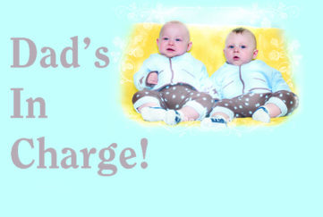 twin baby boys on blue background