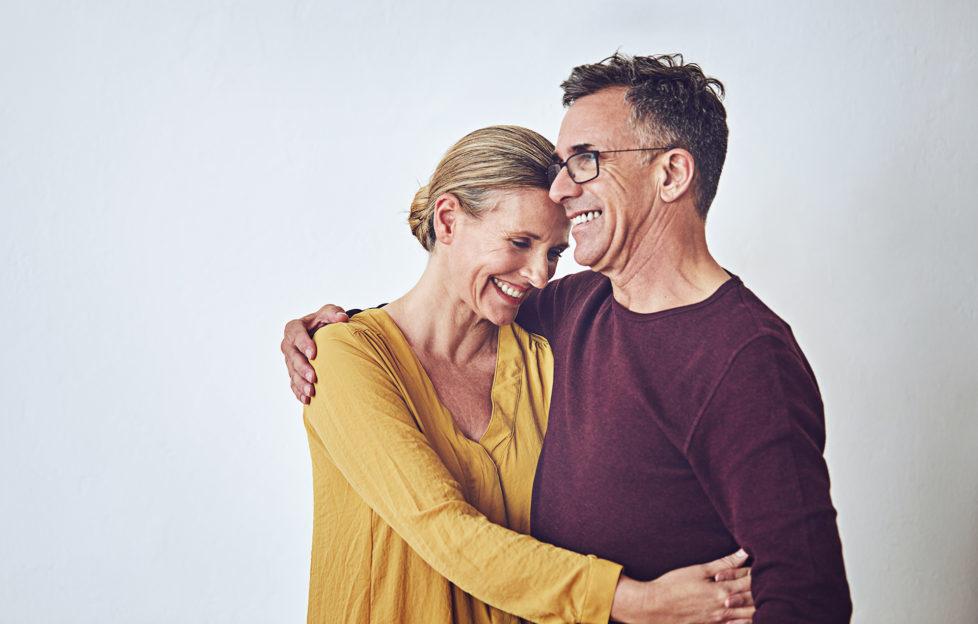 Happy couple hugginh
