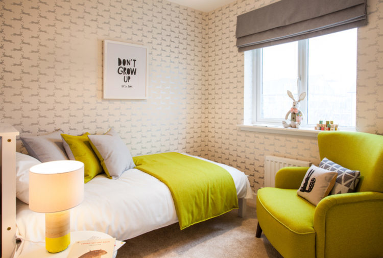 Bedroom with yellow features