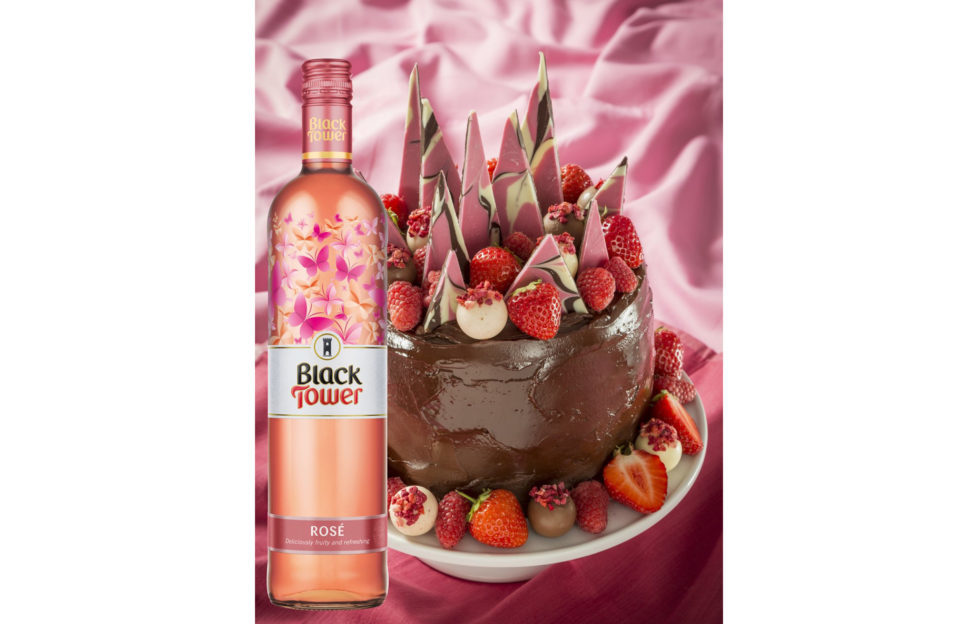 Ultimate Chocolate cake and black tower rose wine