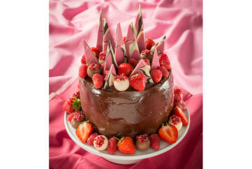 The ultimate chocolate cake with choc shards and berries on top Pic: Lighthouse photography