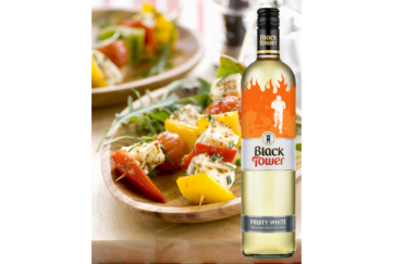 Halloumi Skewers With Red And Yellow Peppers and Black Tower white wine