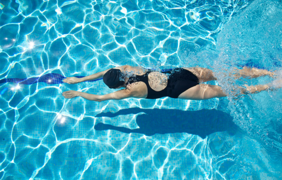 Woman swimming breaststroke