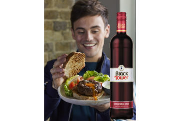 Tom Daly's Olympic Burger and Black Tower Red Wine