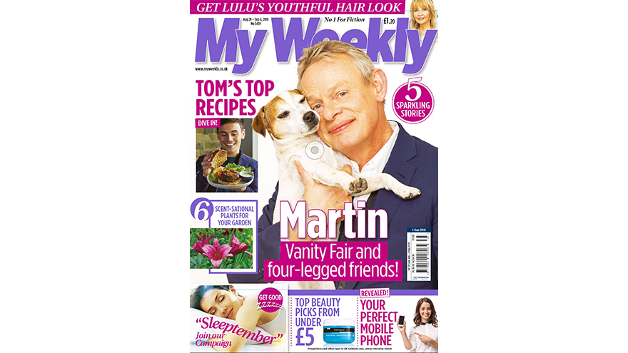 Cover of My Weekly August 28, 20178 with Martin Clunes holding a Jack Russell dog and Tom Daley cookery