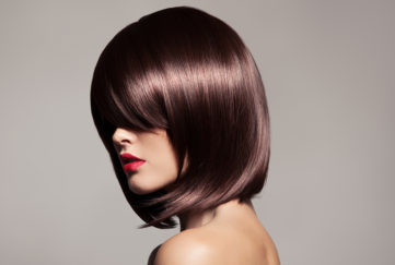 woman with glossy bob