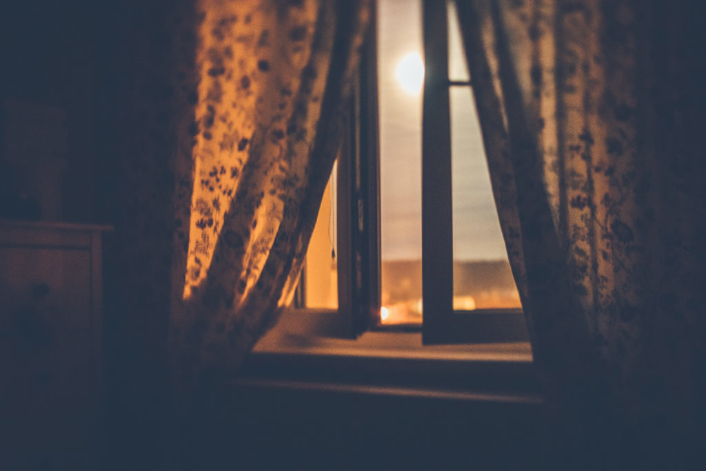 Full moon night by the window in summer