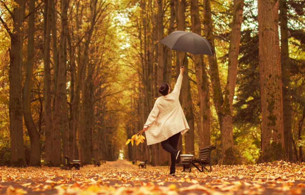 girl with an umbrella in the park