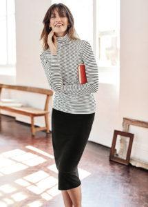 model in pencil skirt