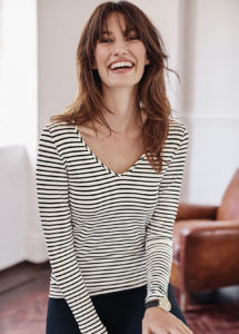 model in stripe top