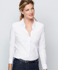 model in white shirt