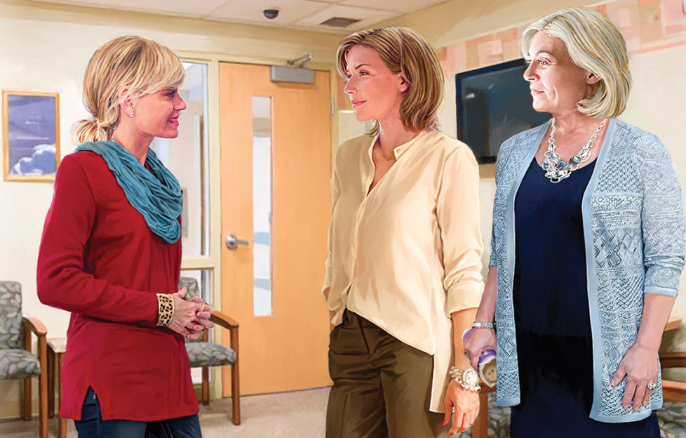 Three women chatting in a hospital waiting room Illustration: Andre Leonard
