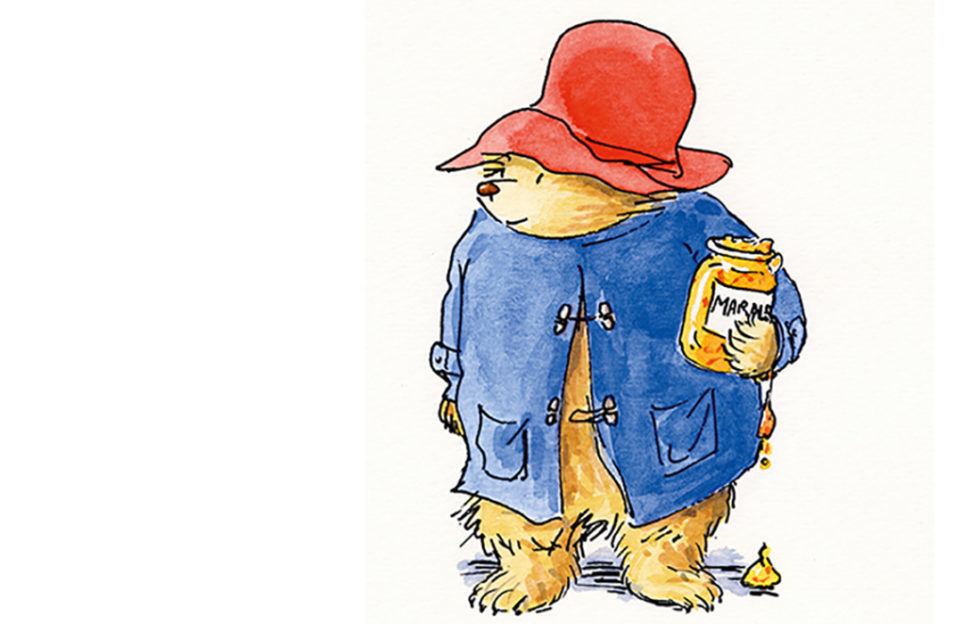 Paddington Bear holding marmalade