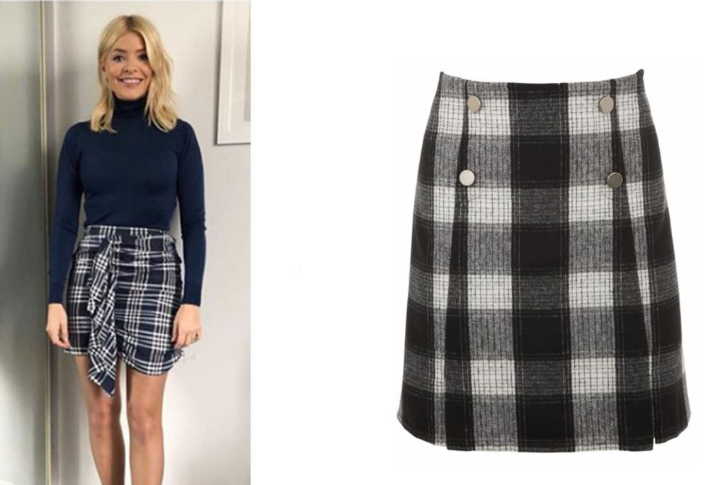 Holly Willoughby in black and white skirt
