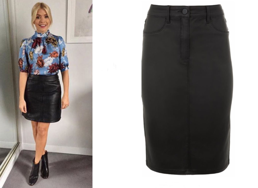 Holly Willoughby in floral top and black pencil skirt