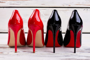Red and black pump shoes