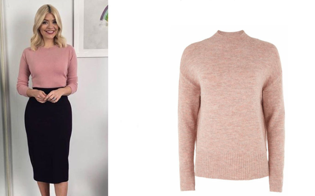 Holly Willoughby in Pink jumper tucked into skirt
