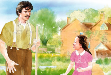 Italian man and young girl together in veg patch Illustration: Andre Leonard Pic: Jerry Bauer